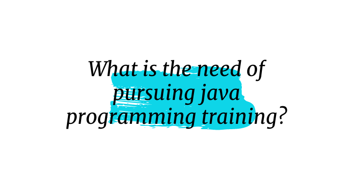 What is the need of pursuing java programming training?
